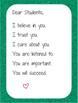 """Green Sparkle """"Dear Student"""" Poster"""