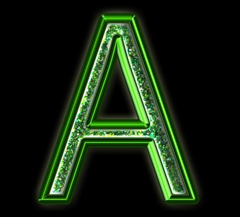 Alphabet Clip Art Green Sparkle & Shine , Punctuation, Math Symbols & Numerals