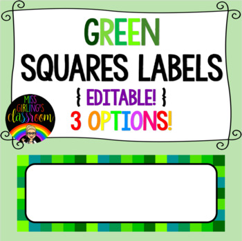 Green Squares Labels {EDITABLE!}