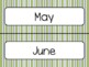 Green Stripe Calendar Pieces