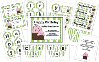 Green Striped Birthday Tags