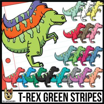 Green-Striped T-Rex Dinosaurs Clip Art