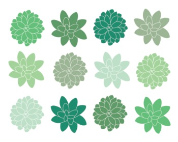 Green Succulent Clipart, Digital Clipart, Green, Flowers,