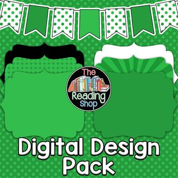 Green TPT Seller Digital Design Pack - Digital Papers, Filled Frames, Banner