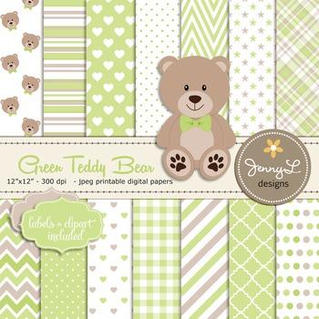 SET: Green Teddy Bear Digital papers, Teddy Bear clipart
