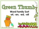 Green Thumb -et -en -et -ell  Word Family Sort Game