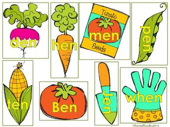 Green Thumb -et -en -et -ell  Word Family Sort Game