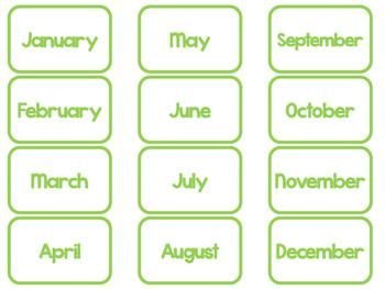 Green Today Is....Mat, Cards, Labels. Preschool-Kindergarten Circle Time.