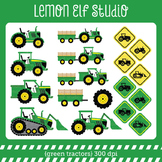 Green Tractors-Digital Clipart (LES.CL19A)