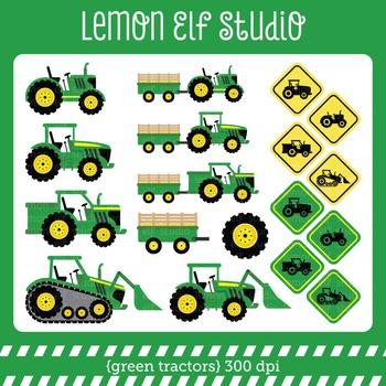 Green Tractors-Digital Clipart (LES.CL19A)