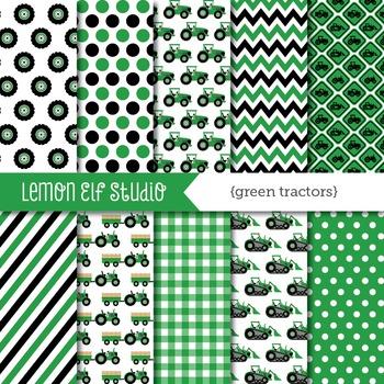 Green Tractors-Digital Paper (LES.DP19A)