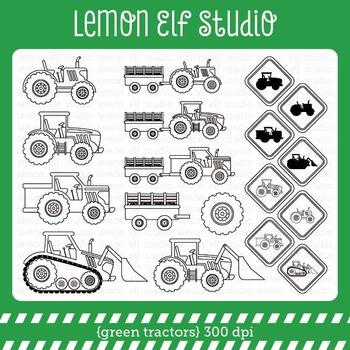 Green Tractors-Digital Stamp (LES.DS19)