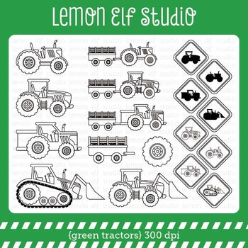 Green Tractors-Digital Stamp (LES.DS19)