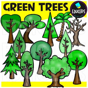 Green Trees Clip Art Bundle {Educlips Clipart}
