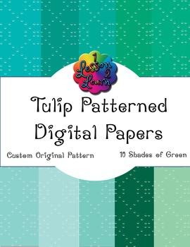 Green Tulip Pattern Digital Paper