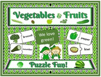 Green Vegetables & Fruits: Picture/Word Jigsaw Puzzles