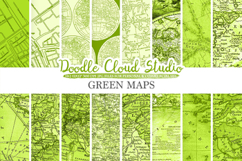 Green Vintage Maps digital paper, Old Maps, Modern Maps, Historical Maps