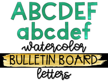 Green Watercolor Bulletin Board Letters