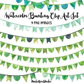 Green Watercolor Bunting Clip Art