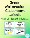 Green Watercolor Classroom Labels