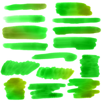 Green Watercolor Clipart- Smears, Watercolor Clipart Green Strokes, PNGs