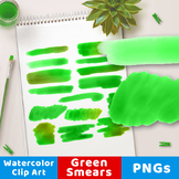 Green Watercolor Clipart- Smears, Watercolor Clipart Green