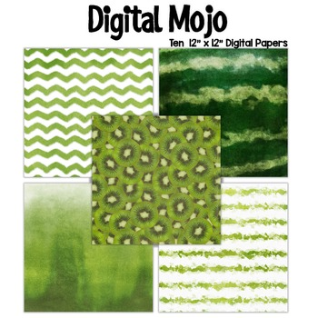 Green Watercolor Grunge Digital Papers (Watermelon and Lime inspired)