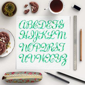 Green Watercolor Letters Clip Art