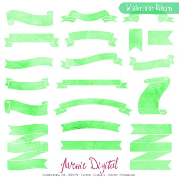 Green Watercolor Ribbon Banners clip art - ribbons clipart hand drawn labels