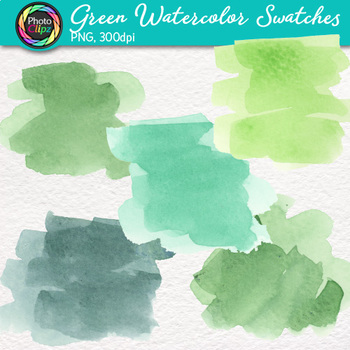 Green Watercolor Swatches Clip Art {Hand-Painted Textures for Backgrounds}