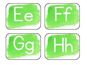 Green Watercolor Word Wall Alphabet