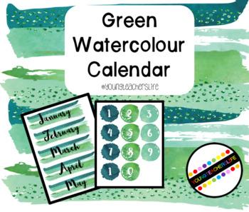 Green Watercolour Calendar