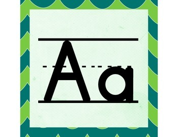 Green Waves ABC Word Wall Letters