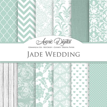 Green Wedding Digital Paper patterns - jade save the date backgrounds
