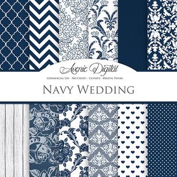 Navy Wedding Digital Paper patterns - Dark blue save the date backgrounds