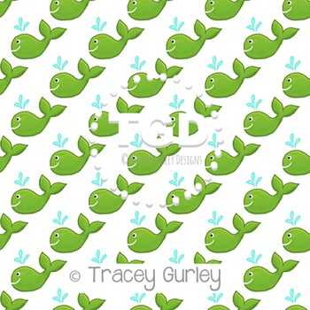 Green Whale on White digital paper Printable Tracey Gurley Designs