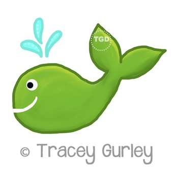 Green Whale - green whale clip art Printable Tracey Gurley Designs