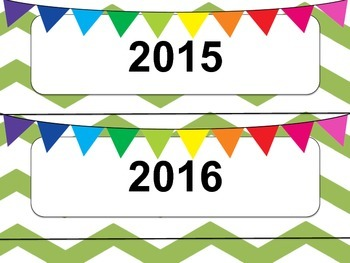 Green & White Chevron Calendar Months