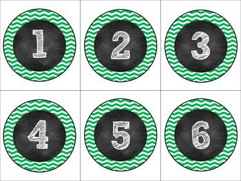 Green & White Chevron & Chalk Classroom Pack