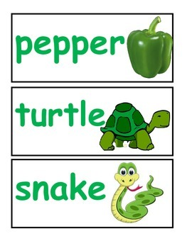 Green Word Wall Words or Vocabulary