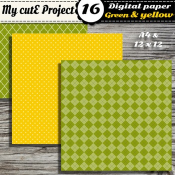 "Green & Yellow DIGITAL PAPER - Scrapbooking- A4 & 12x12"" - Stripes..."