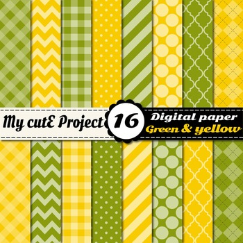 "Green & Yellow DIGITAL PAPER - Scrapbooking- A4 & 12x12"" -"