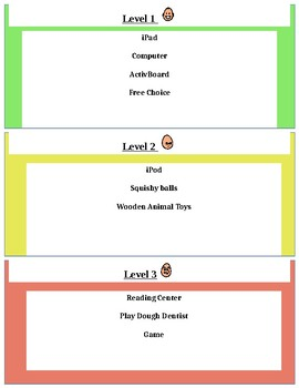 Green, Yellow, Red Earn Levels with Visuals (for behavior)