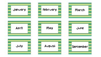 Classroom Calendar Set - Green & Yellow Stripe