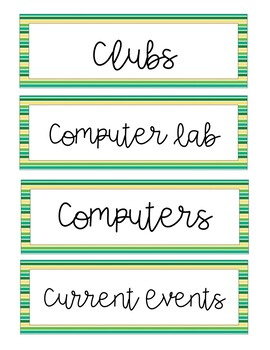 Green & Yellow Stripe Schedule Cards
