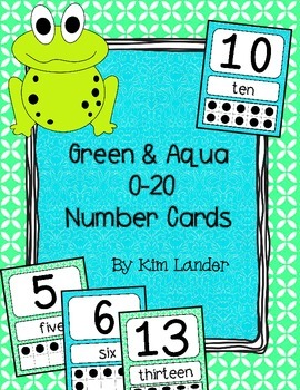 Green and Aqua Number Cards 0-20