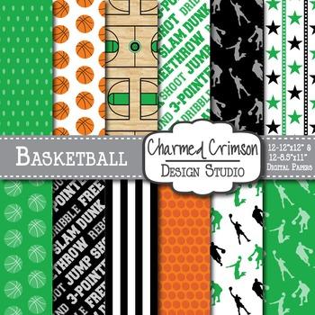Green and Black Basketball Digital Paper 1259