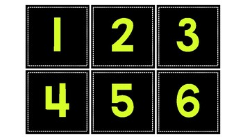 Green and Black Number Labels