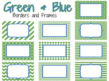 Green and Blue Borders and Frames
