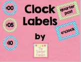 Green and Blue Chevron Clock Labels
